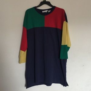 Vintage Color Block Tshirt Dress